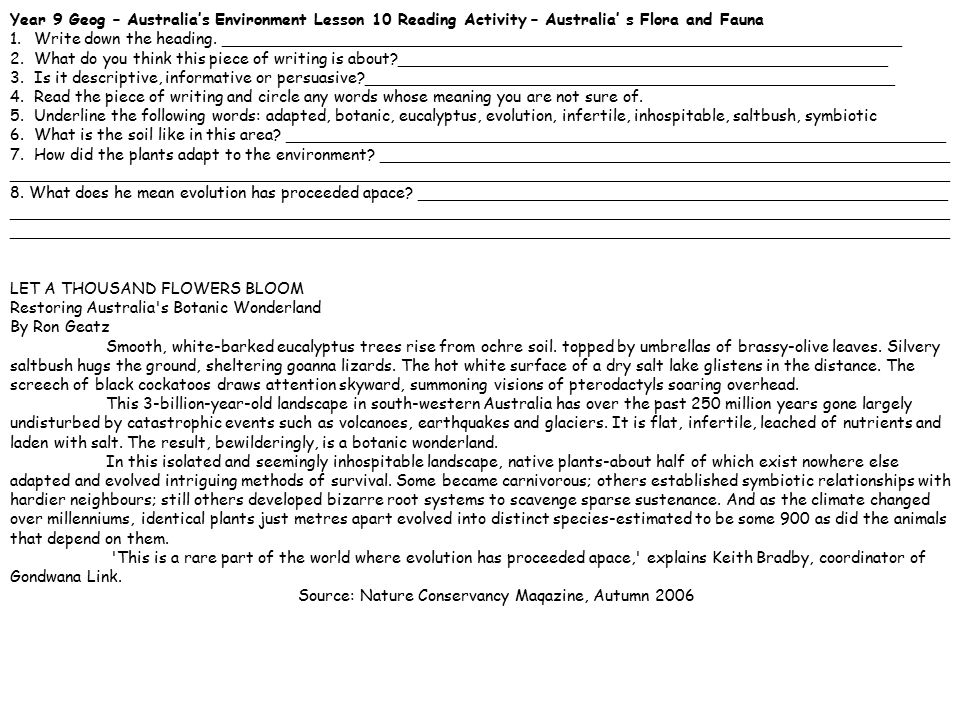 Year 9 Geog – Australia's Environment Lesson 11 Reading Activity – Australia' s Resources 1.Write down the heading.