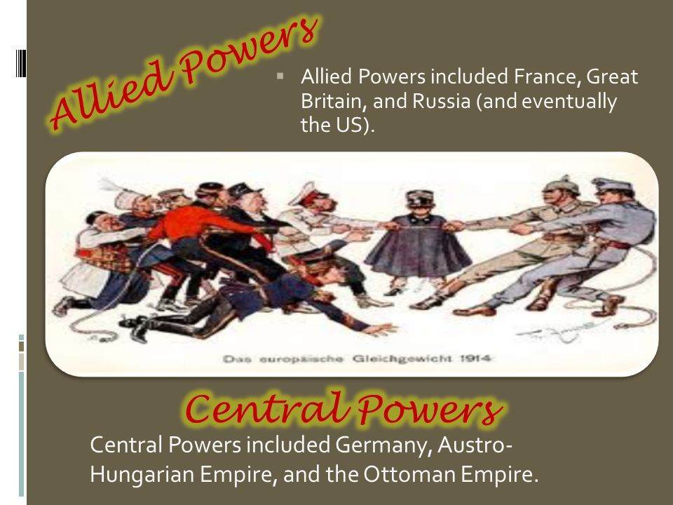  Allied Powers included France, Great Britain, and Russia (and eventually the US).