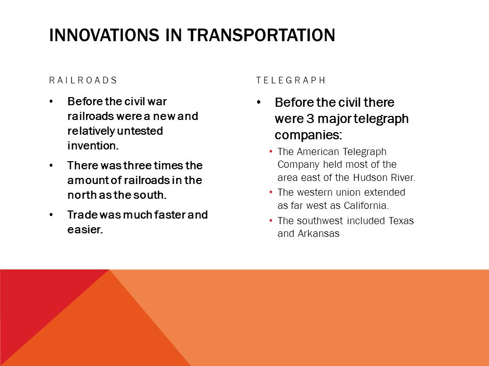 INNOVATIONS IN TRANSPORTATION RAILROADS Before the civil war railroads were a new and relatively untested invention.