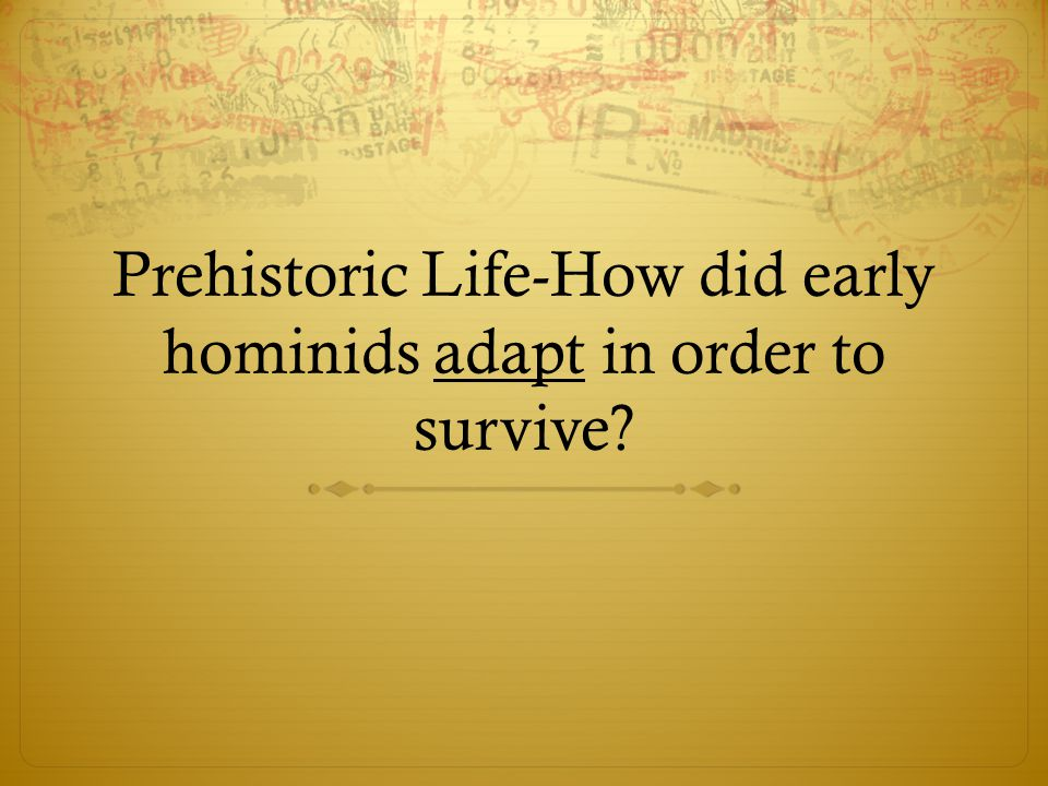 Prehistoric Life-How did early hominids adapt in order to survive?