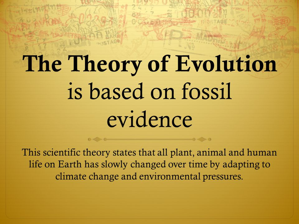 The Theory of Evolution is based on fossil evidence This scientific theory states that all plant, animal and human life on Earth has slowly changed over time by adapting to climate change and environmental pressures.