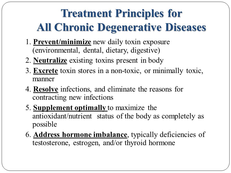 Treatment Principles for All Chronic Degenerative Diseases 1.