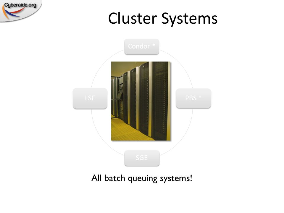 PBS – Portable Batch System Used for dedicated Cluster resources – Homogeneous clusters with MPI Manages thousands of CPUs in near real time Schedules large numbers of jobs quickly and efficiently Many different implementations – PBS Pro (not free but advanced) – Open PBS (free but old) – Torque & Maui (free, stable, advanced) Deployments – Dedicated clusters in academic and corporate settings – Playstation3 Clusters