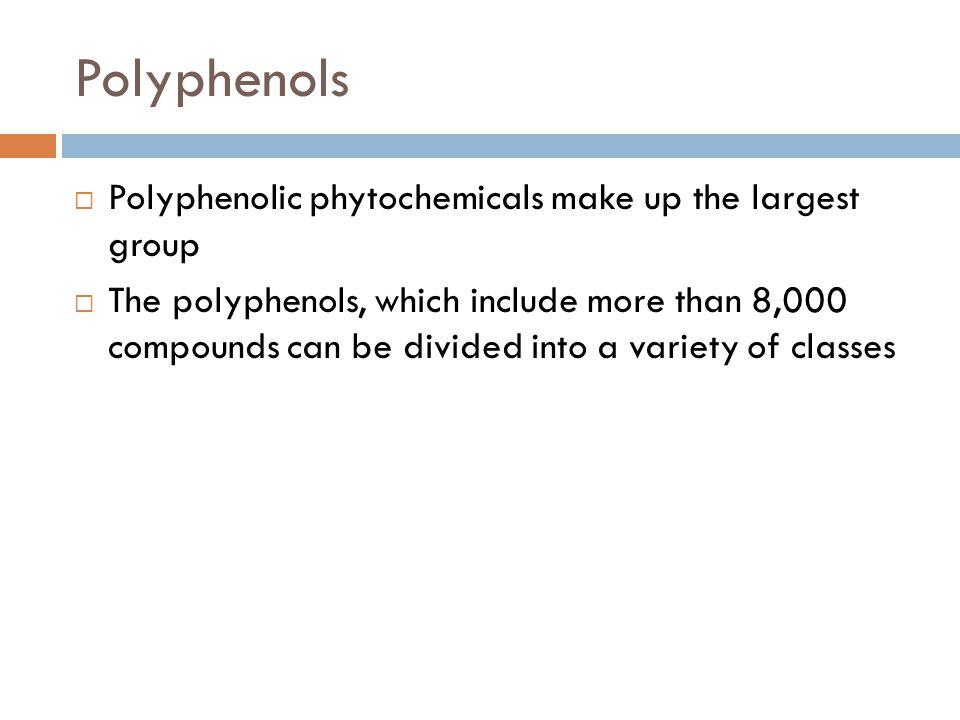 Classes of Phytochemicals  Flavonoids  Carotenoids  Terpenes  Organosulfides  Phenolic Acids  Lignans  Saponins  Phytosterols  Glucosinolates  Isothiocyanates