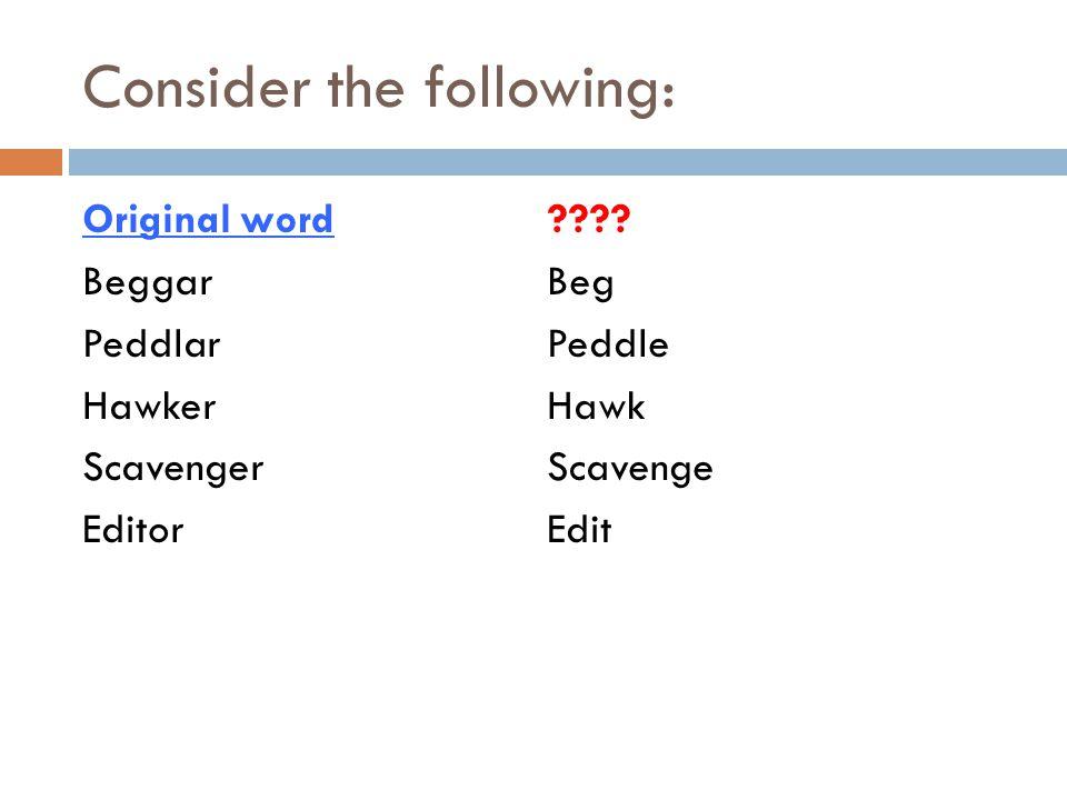 Consider the following: Original word Beggar Peddlar Hawker Scavenger Editor ???.
