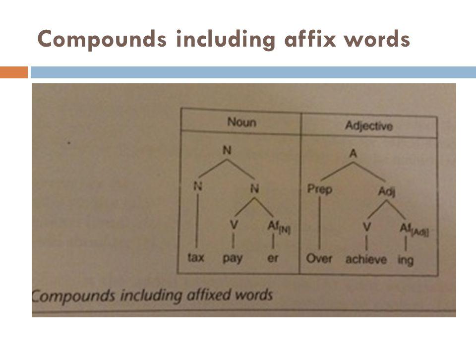 Compounds including affix words