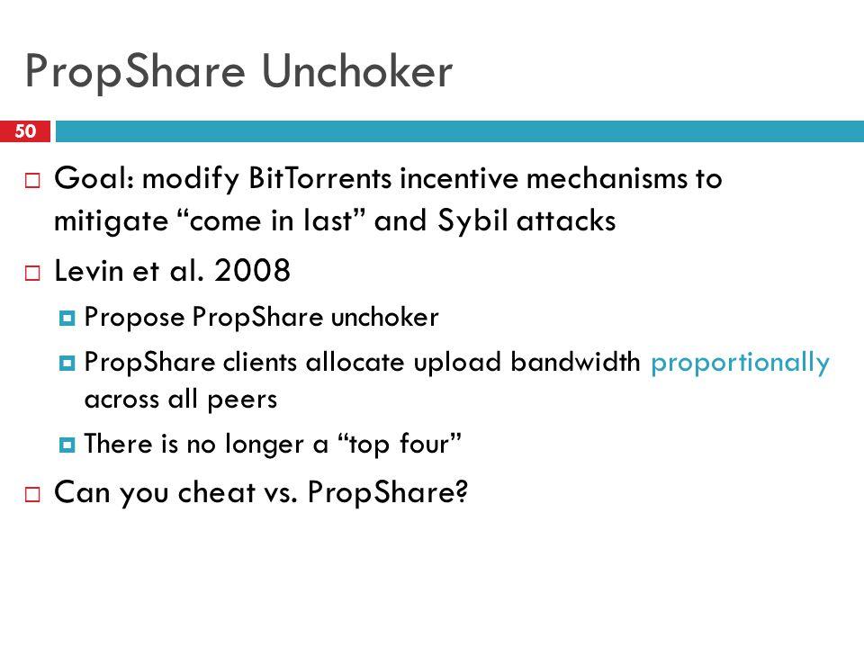 "PropShare Unchoker 50  Goal: modify BitTorrents incentive mechanisms to mitigate ""come in last"" and Sybil attacks  Levin et al. 2008  Propose PropS"