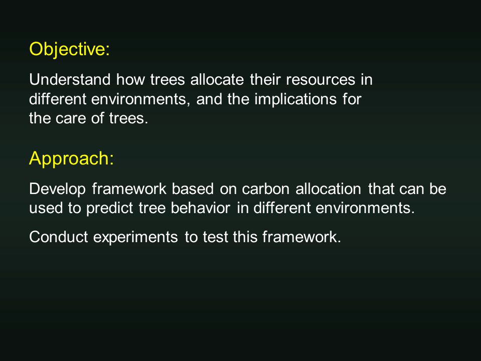 Framework: carbon allocation patterns of trees Herms, D.A.