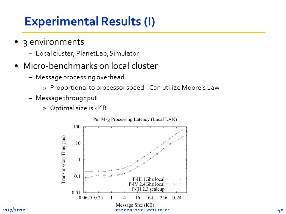 11/7/201240cs262a-S12 Lecture-21 Experimental Results (I) 3 environments –Local cluster, PlanetLab, Simulator Micro-benchmarks on local cluster –Message processing overhead »Proportional to processor speed - Can utilize Moore's Law –Message throughput »Optimal size is 4KB