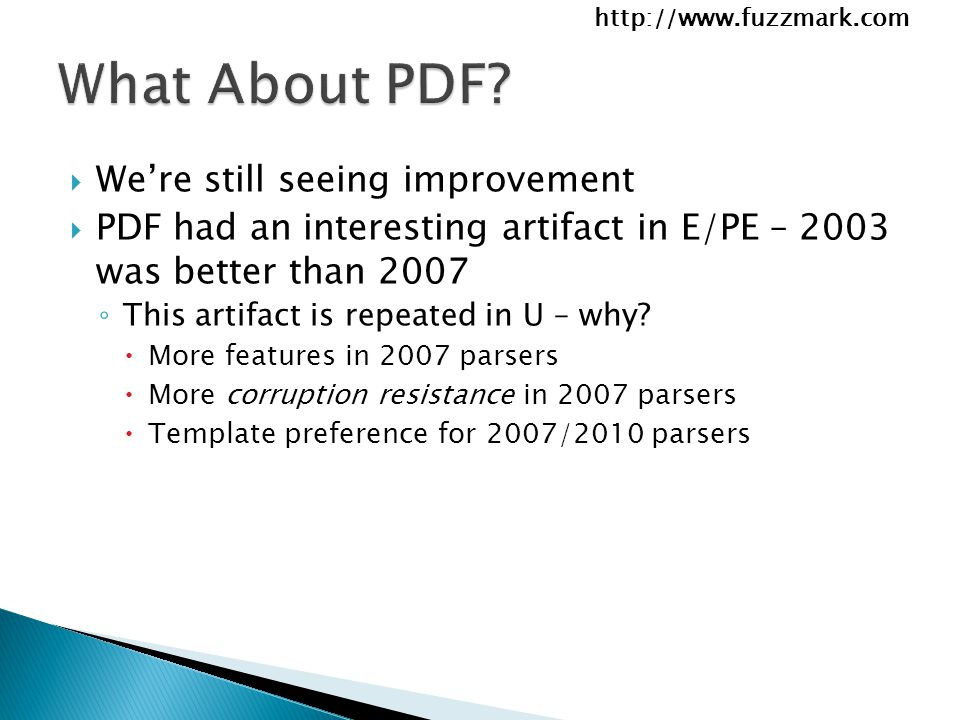  We're still seeing improvement  PDF had an interesting artifact in E/PE – 2003 was better than 2007 ◦ This artifact is repeated in U – why.