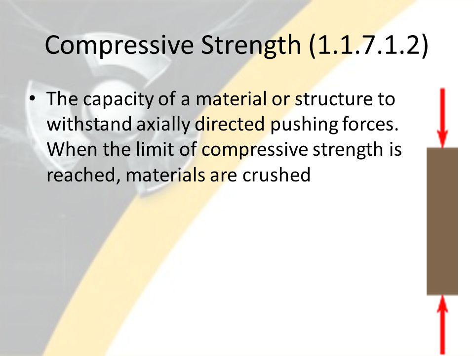 Compressive Strength (1.1.7.1.2) The capacity of a material or structure to withstand axially directed pushing forces. When the limit of compressive s