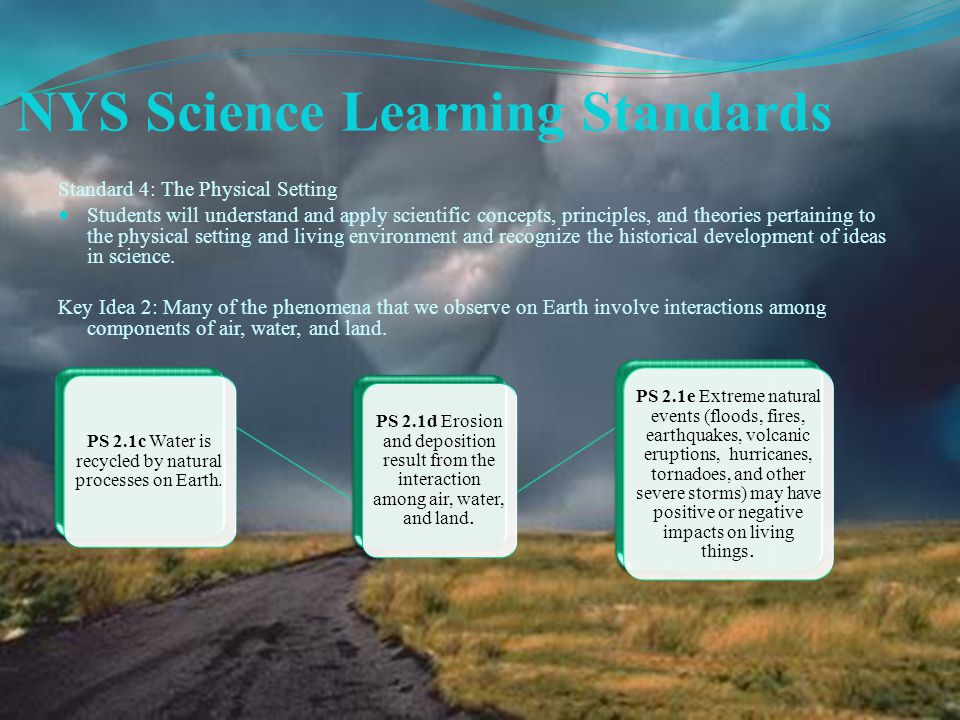 NYS Science Learning Standards Standard 4: The Physical Setting Students will understand and apply scientific concepts, principles, and theories pertaining to the physical setting and living environment and recognize the historical development of ideas in science.