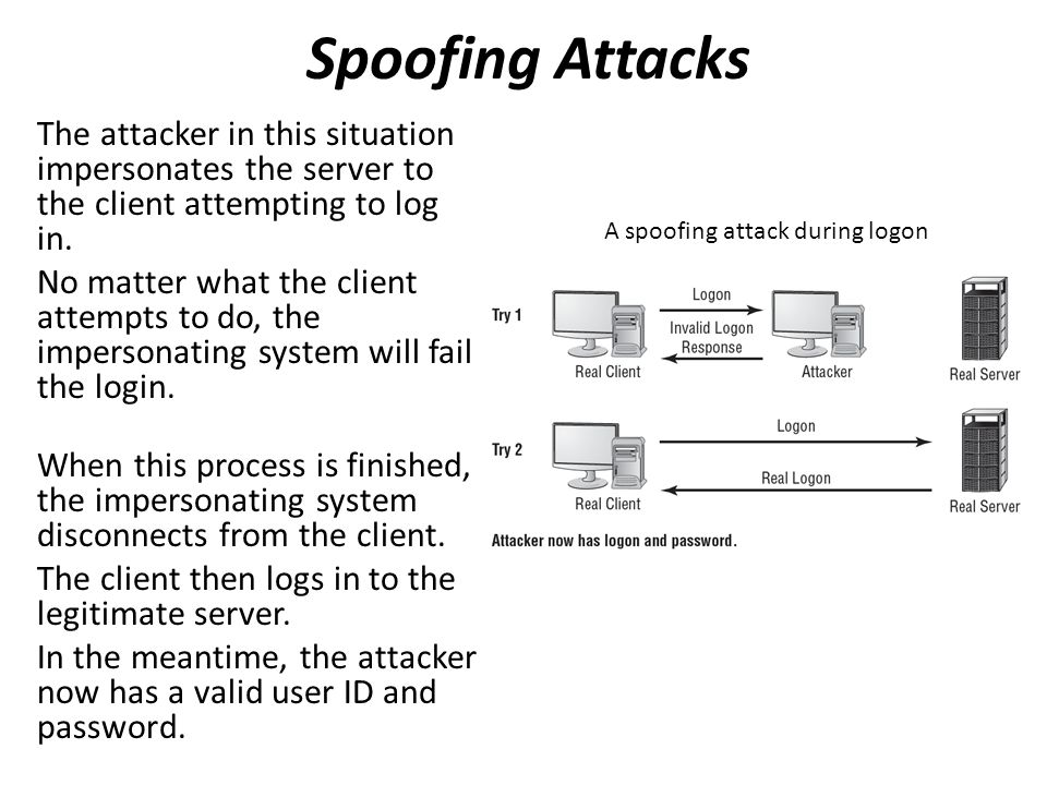 The attacker in this situation impersonates the server to the client attempting to log in.