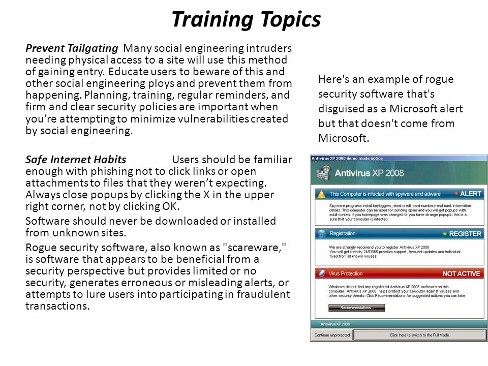 Training Topics Smart Computing HabitsEvery user should know to never introduce any stray media into their system.