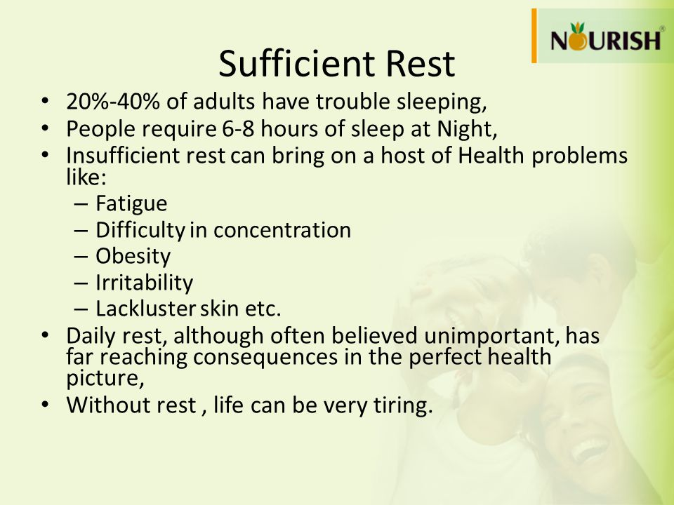 Sufficient Rest 20%-40% of adults have trouble sleeping, People require 6-8 hours of sleep at Night, Insufficient rest can bring on a host of Health p