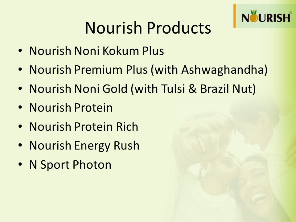 Nourish Products Nourish Noni Kokum Plus Nourish Premium Plus (with Ashwaghandha) Nourish Noni Gold (with Tulsi & Brazil Nut) Nourish Protein Nourish