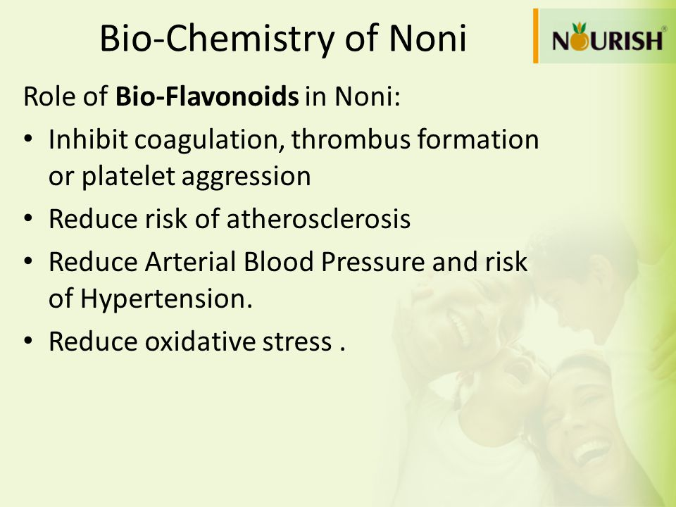 Bio-Chemistry of Noni Role of Bio-Flavonoids in Noni: Inhibit coagulation, thrombus formation or platelet aggression Reduce risk of atherosclerosis Re