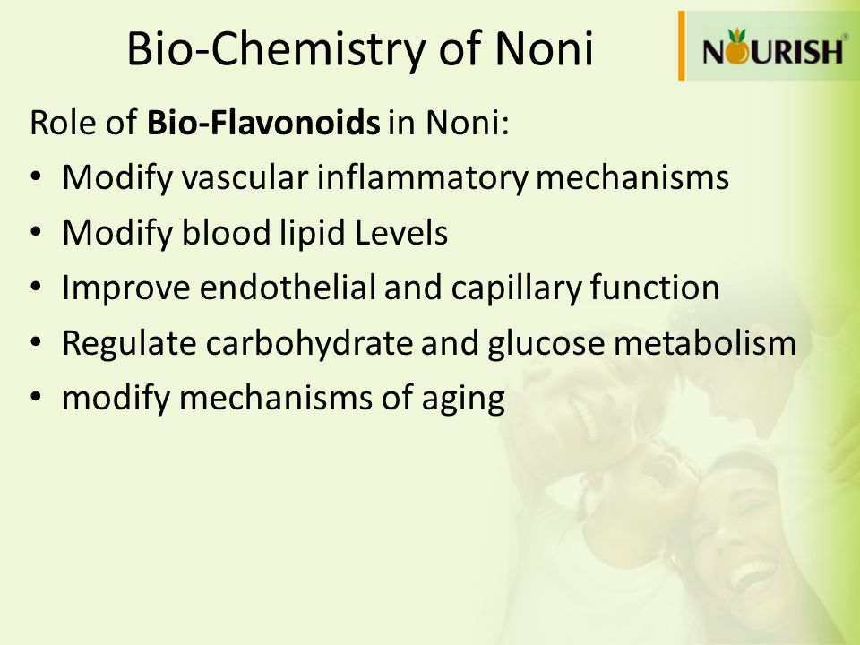 Bio-Chemistry of Noni Role of Bio-Flavonoids in Noni: Modify vascular inflammatory mechanisms Modify blood lipid Levels Improve endothelial and capill