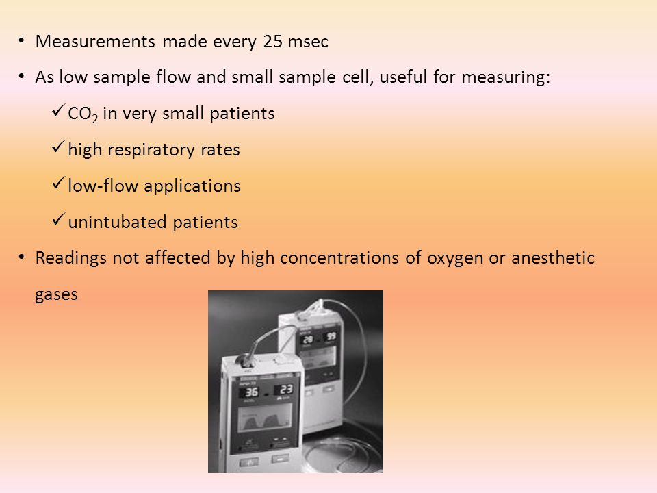 Measurements made every 25 msec As low sample flow and small sample cell, useful for measuring: CO 2 in very small patients high respiratory rates low-flow applications unintubated patients Readings not affected by high concentrations of oxygen or anesthetic gases