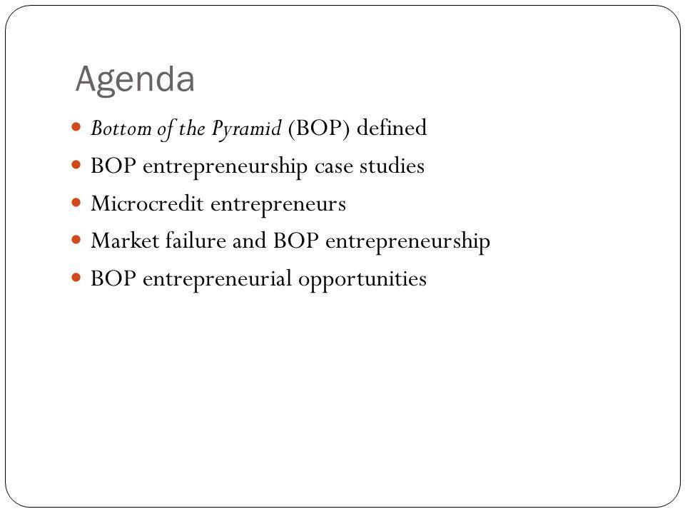 Agenda Bottom of the Pyramid (BOP) defined BOP entrepreneurship case studies Microcredit entrepreneurs Market failure and BOP entrepreneurship BOP entrepreneurial opportunities