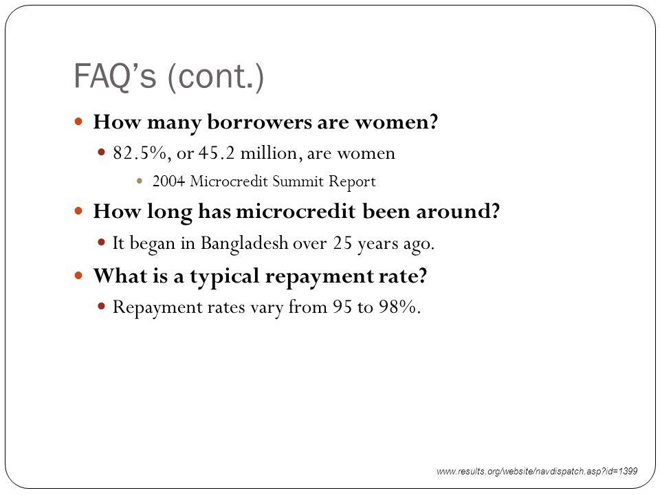 FAQ's (cont.) How many borrowers are women.