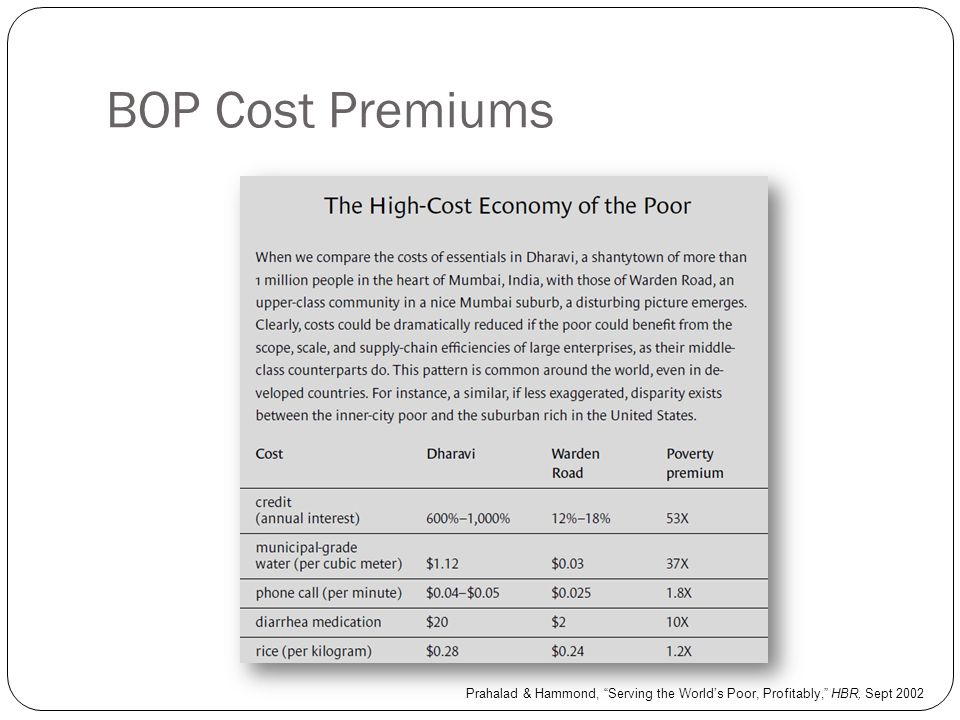 BOP Cost Premiums Prahalad & Hammond, Serving the World's Poor, Profitably, HBR, Sept 2002