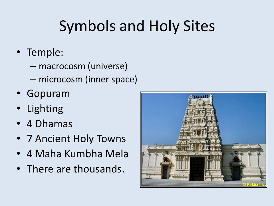 Symbols and Holy Sites Temple: – macrocosm (universe) – microcosm (inner space) Gopuram Lighting 4 Dhamas 7 Ancient Holy Towns 4 Maha Kumbha Mela Ther