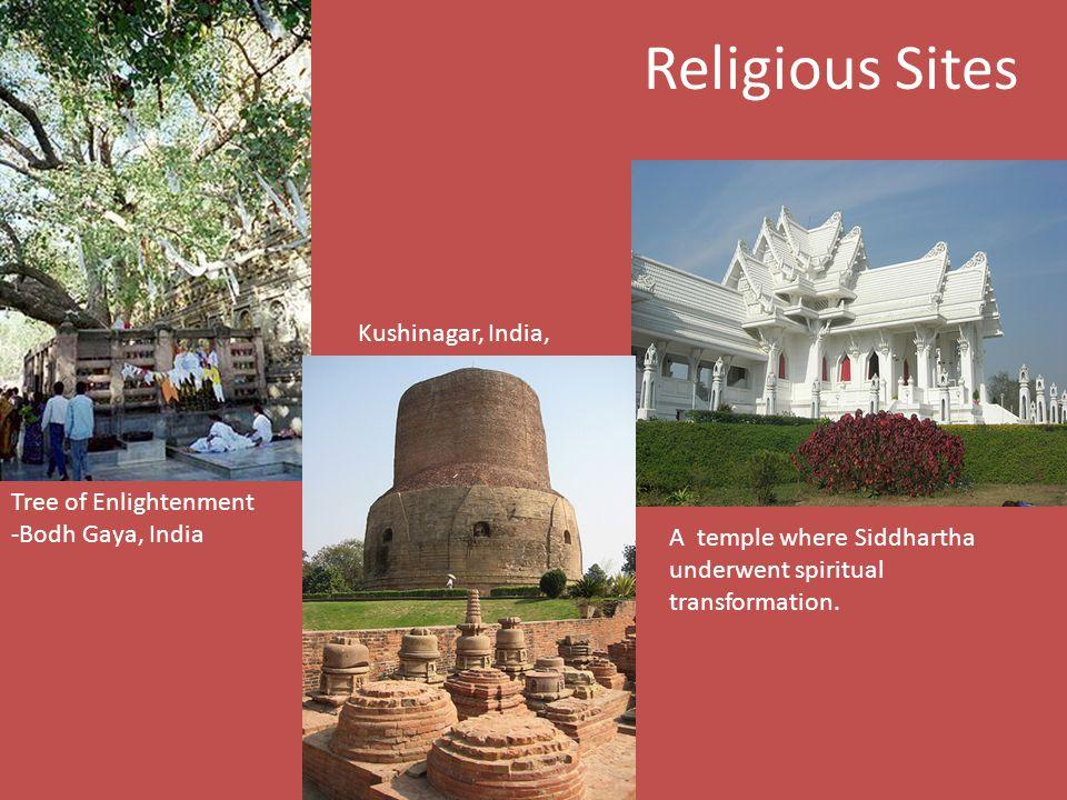 Religious Sites Tree of Enlightenment -Bodh Gaya, India A temple where Siddhartha underwent spiritual transformation.