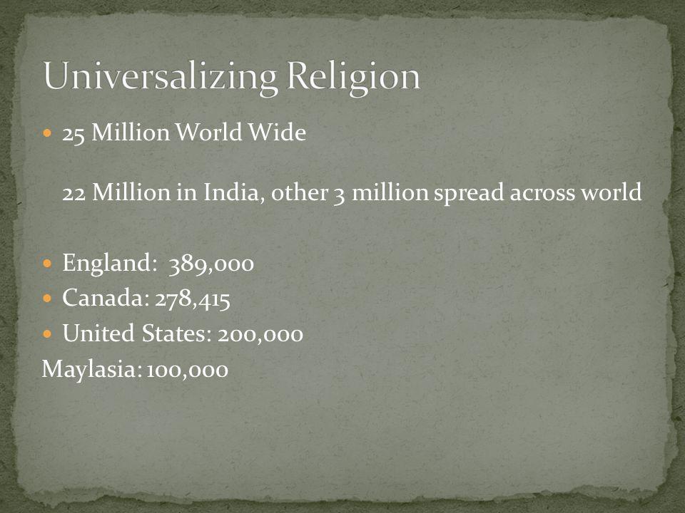 25 Million World Wide 22 Million in India, other 3 million spread across world England: 389,000 Canada: 278,415 United States: 200,000 Maylasia: 100,000