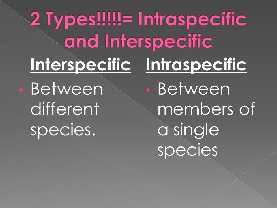 Interspecific Between different species. Intraspecific Between members of a single species