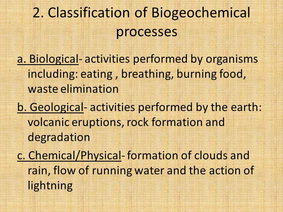 2. Classification of Biogeochemical processes a.