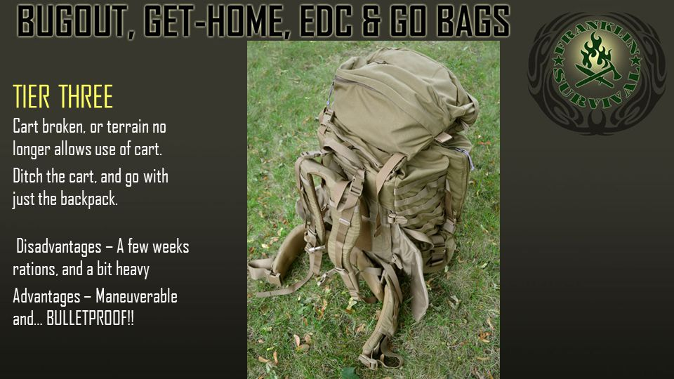 TIER THREE Cart broken, or terrain no longer allows use of cart. Ditch the cart, and go with just the backpack. Disadvantages – A few weeks rations, a