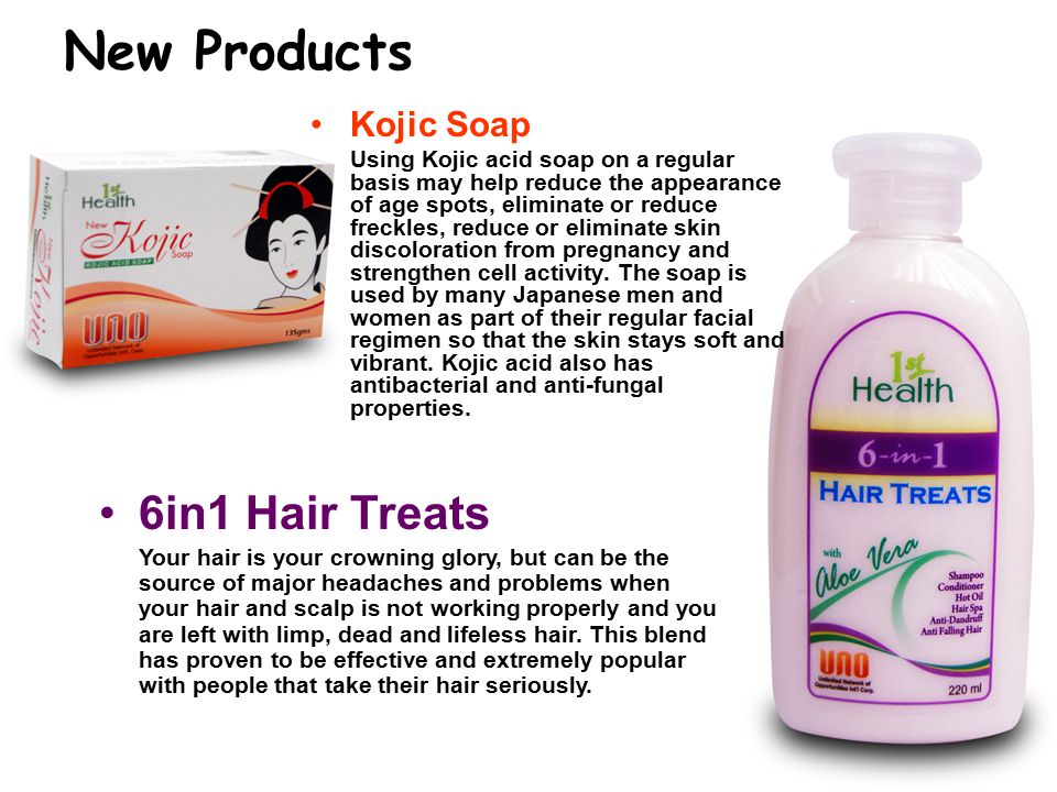 New Products Kojic Soap Using Kojic acid soap on a regular basis may help reduce the appearance of age spots, eliminate or reduce freckles, reduce or eliminate skin discoloration from pregnancy and strengthen cell activity.