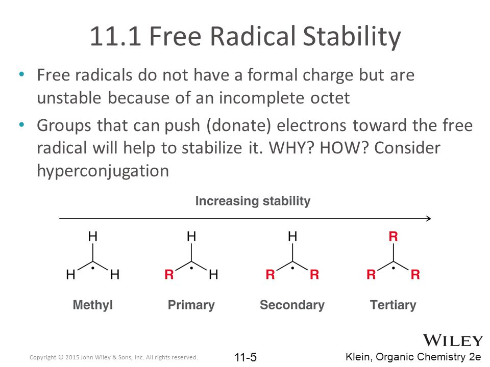 11.1 Free Radical Stability Use arguments that involve hyperconjugation and an energy diagram to explain the differences in bond dissociation energy below Practice with conceptual checkpoint 11.1 Copyright © 2015 John Wiley & Sons, Inc.