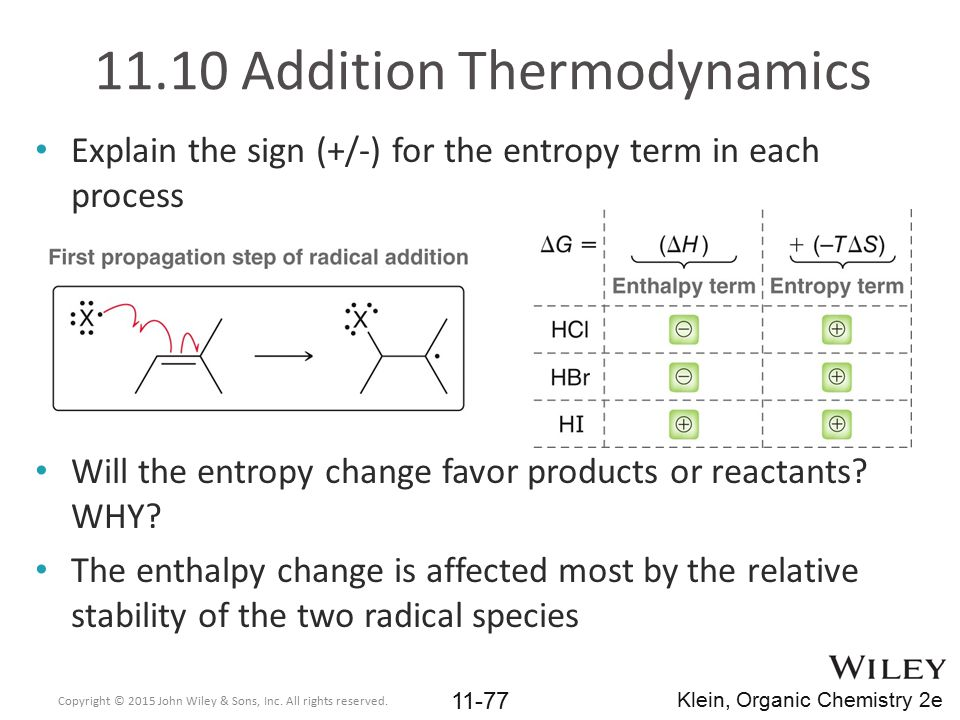 11.10 Addition Thermodynamics Explain the sign (+/-) for the entropy term in each process Will the entropy change favor products or reactants? WHY? Th