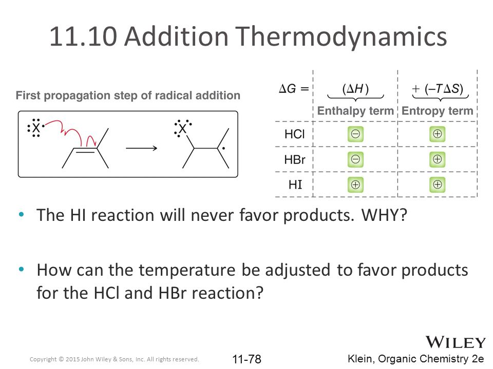11.10 Addition Thermodynamics The HI reaction will never favor products. WHY? How can the temperature be adjusted to favor products for the HCl and HB
