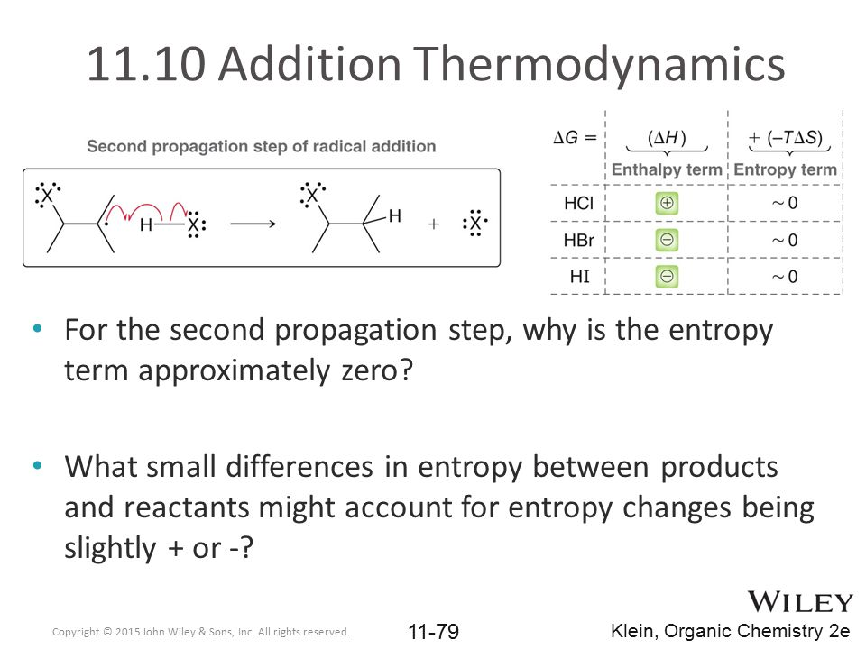 11.10 Addition Thermodynamics For the second propagation step, why is the entropy term approximately zero? What small differences in entropy between p