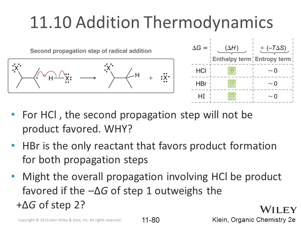 11.10 Addition Thermodynamics For HCl, the second propagation step will not be product favored. WHY? HBr is the only reactant that favors product form
