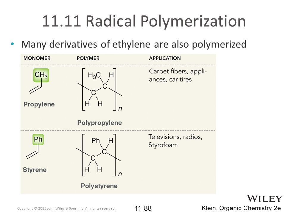 Many derivatives of ethylene are also polymerized 11.11 Radical Polymerization Copyright © 2015 John Wiley & Sons, Inc. All rights reserved. 11-88 Kle