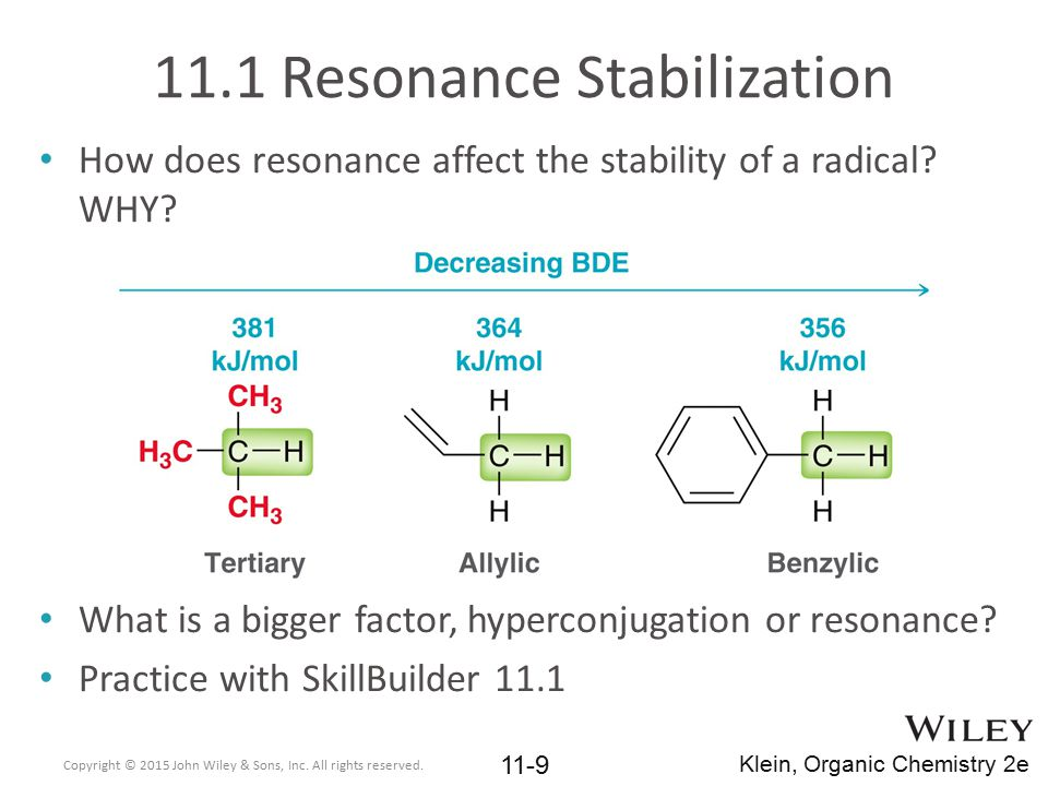 11.4 Halogenation Thermodynamics Consider chlorination and bromination in more detail Chlorination is more product favored than bromination Copyright © 2015 John Wiley & Sons, Inc.