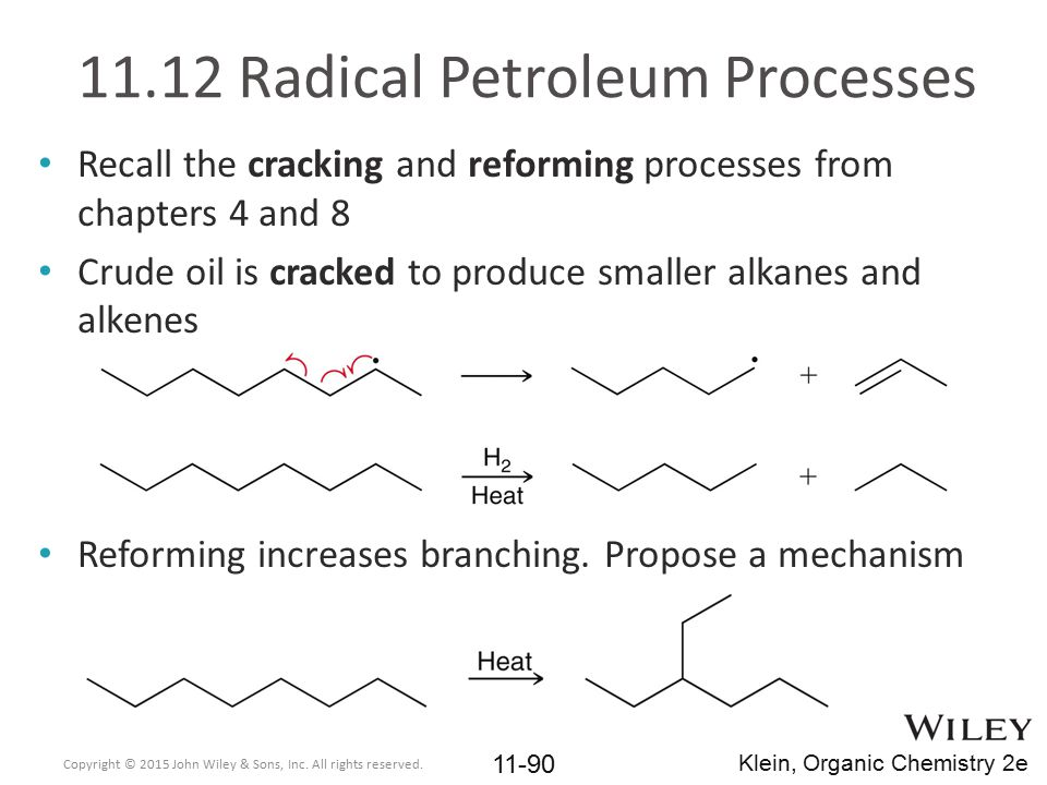 11.12 Radical Petroleum Processes Recall the cracking and reforming processes from chapters 4 and 8 Crude oil is cracked to produce smaller alkanes an