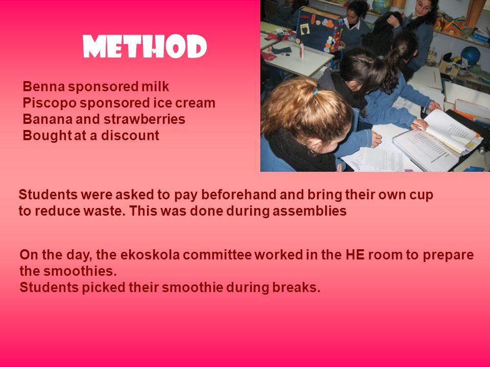 Method Benna sponsored milk Piscopo sponsored ice cream Banana and strawberries Bought at a discount Students were asked to pay beforehand and bring t