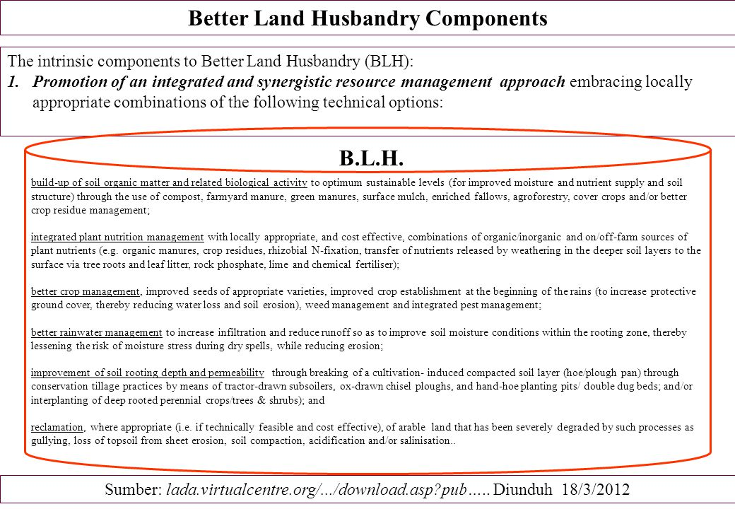 Better Land Husbandry Components The intrinsic components to Better Land Husbandry (BLH): 1.Promotion of an integrated and synergistic resource manage