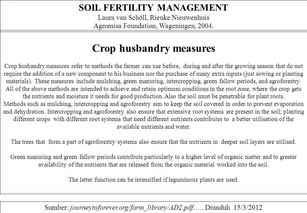 Components of a Sustainable Soil Fertility Management Program 2.