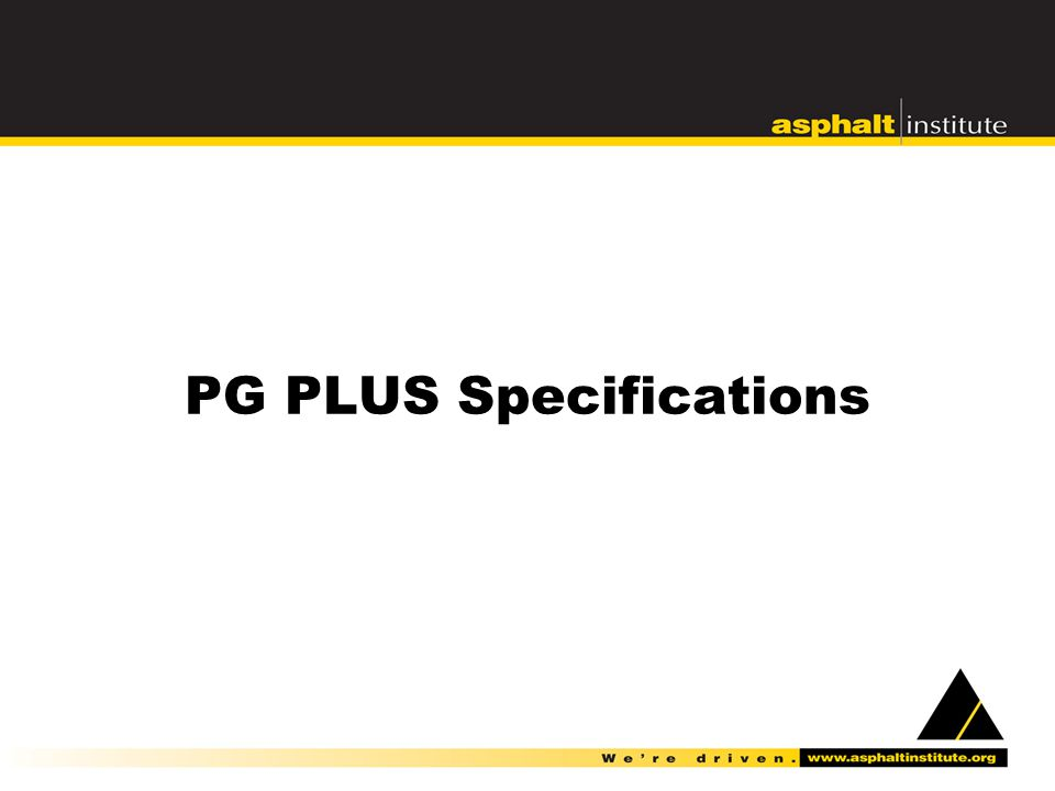 PG PLUS Specifications