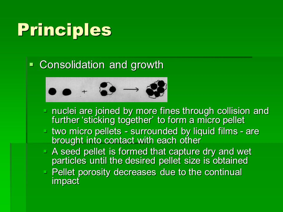 Principles  Consolidation and growth  nuclei are joined by more fines through collision and further 'sticking together' to form a micro pellet  two micro pellets - surrounded by liquid films - are brought into contact with each other  A seed pellet is formed that capture dry and wet particles until the desired pellet size is obtained  Pellet porosity decreases due to the continual impact