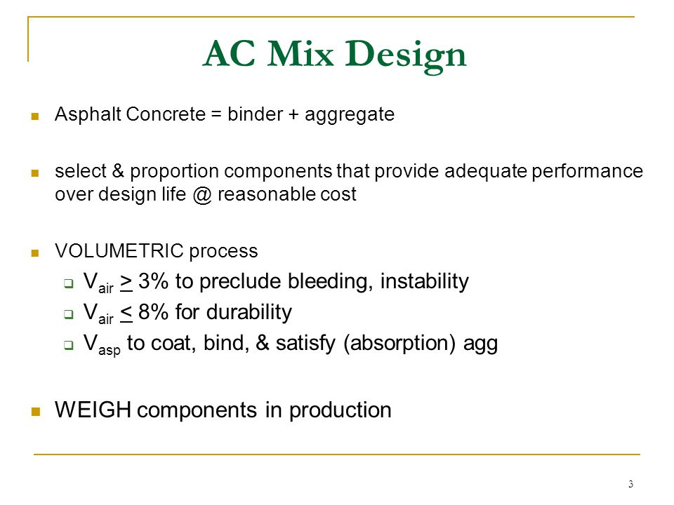 14 Tensile (Fracture) Strength resistance to thermal cracking  important @ low temps  large induced stresses (restrained contraction)  weak subgrade transverse cracking primarily controlled by binder limiting tensile strength (4-10 MPa) ~ limiting stiffness  dense graded aggregate   degree of compaction   binder  Tensile Strength
