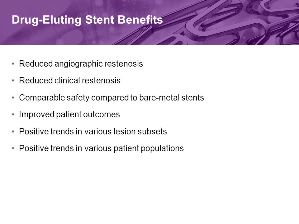 Drug-Eluting Stent Benefits Reduced angiographic restenosis Reduced clinical restenosis Comparable safety compared to bare-metal stents Improved patient outcomes Positive trends in various lesion subsets Positive trends in various patient populations