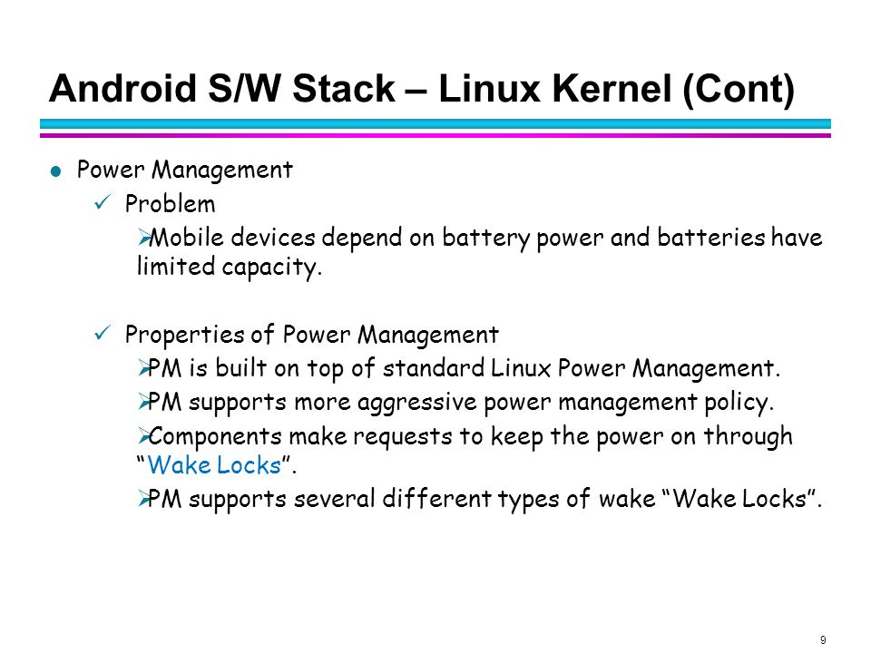20 Android S/W Stack – Libraries (Cont) Surface Manager (Surface Flinger) Providing system-wide surface composer, handling all surface rendering to frame buffer device Operation