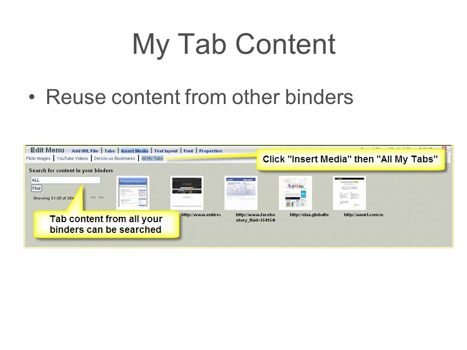 My Tab Content Reuse content from other binders